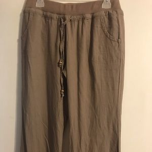 Pants - Super cute linen pants with accented wide legs.